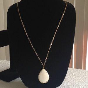 Gold Tone, White Stone Teardrop Necklace